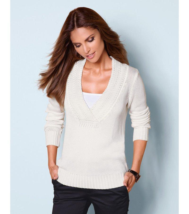 Jersey mujer manga larga tricot escote cruzado - Blanco