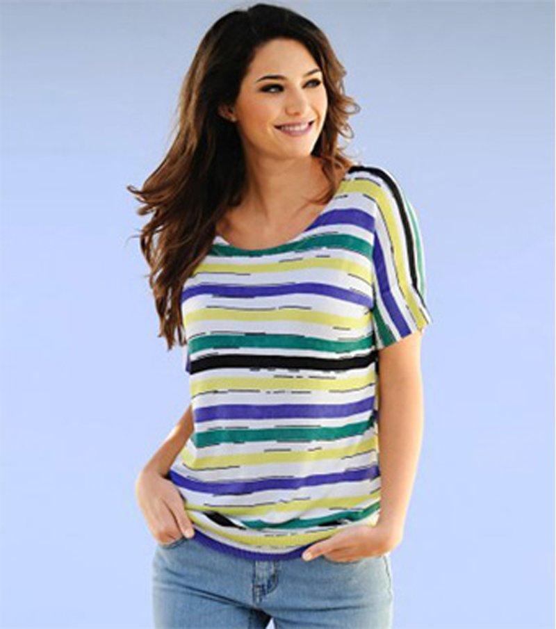 Jersey mujer manga corta tricot rayas