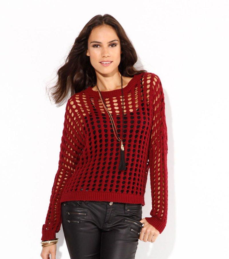 Jersey mujer punto tricot calado con canalé