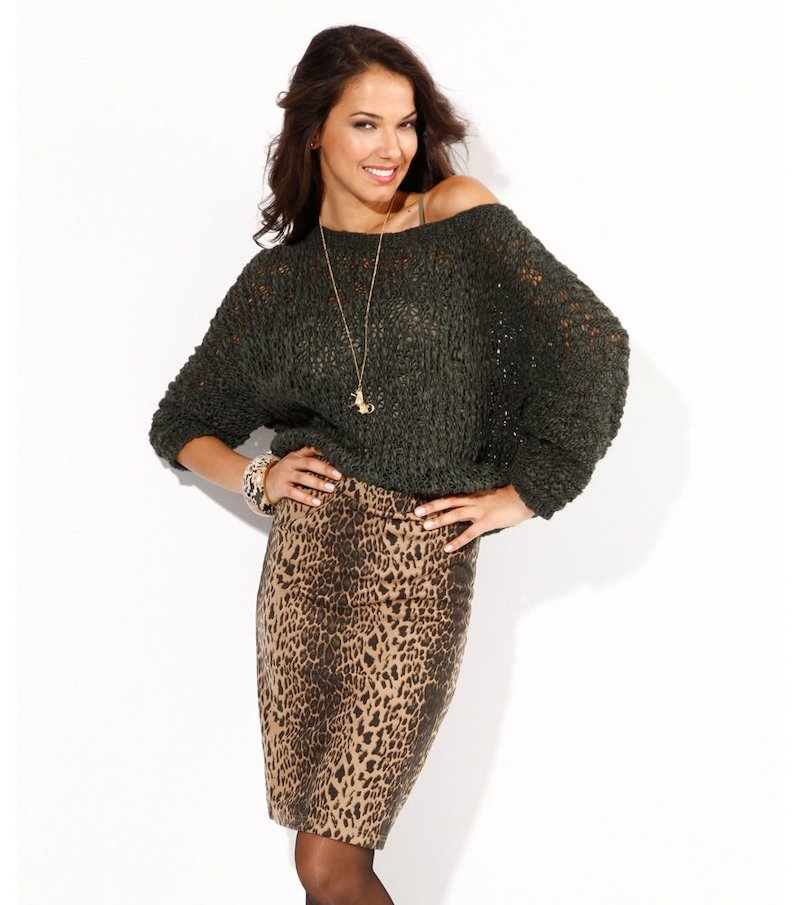 Jersey mujer manga larga grueso tricot calado