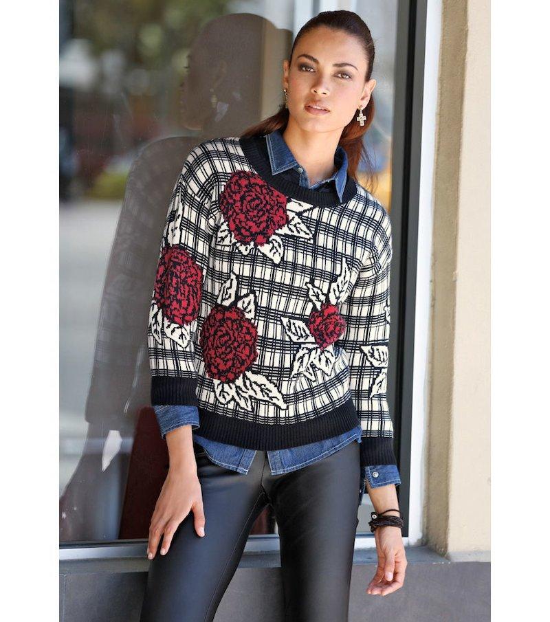 Jersey mujer manga 3/4 punto tricot jacquard