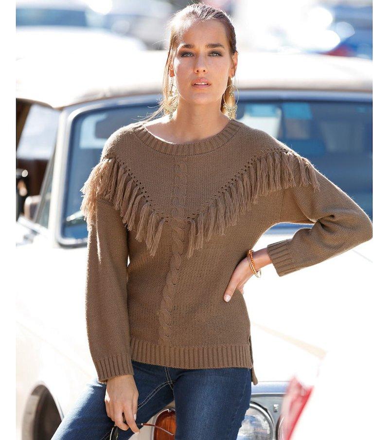 Jersey mujer manga larga con flecos y calados