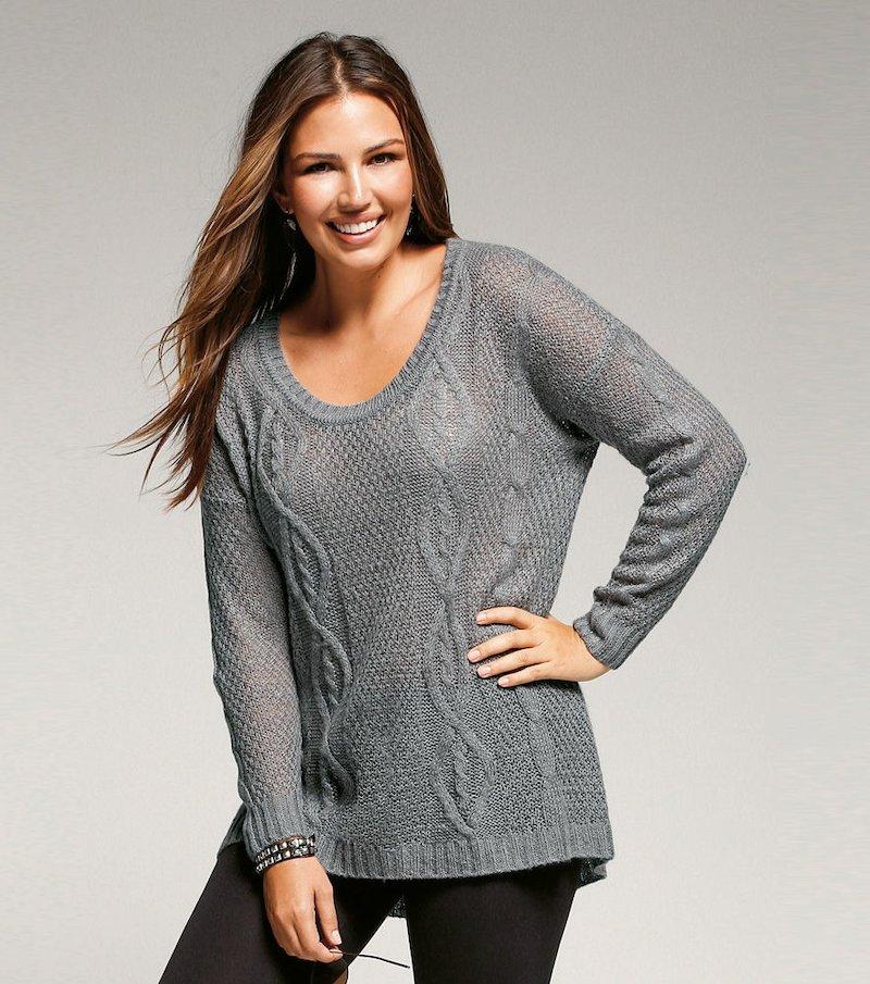 Jersey mujer manga larga tricot trenzas - Gris