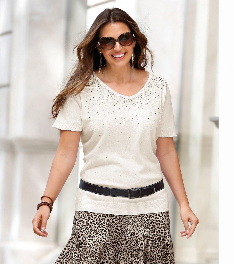 Jersey mujer de manga corta con aplicaciones metálicas - Beige