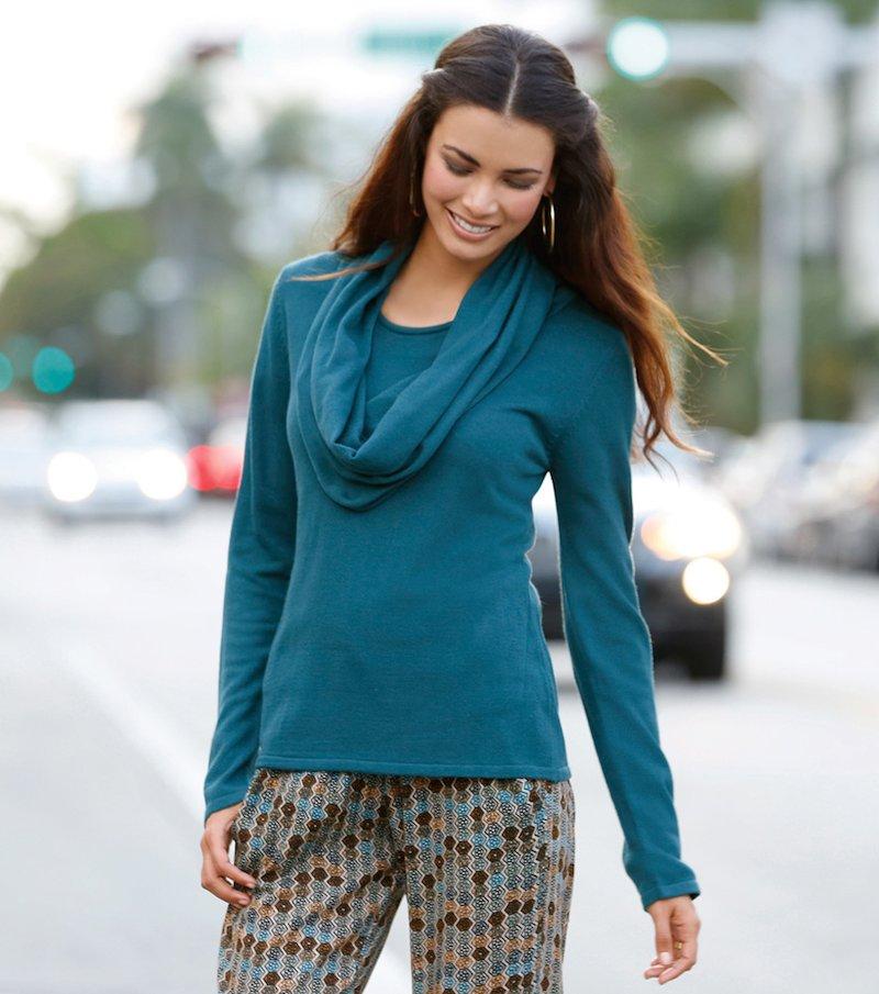 Jersey mujer manga larga efecto doble drapeado - Azul