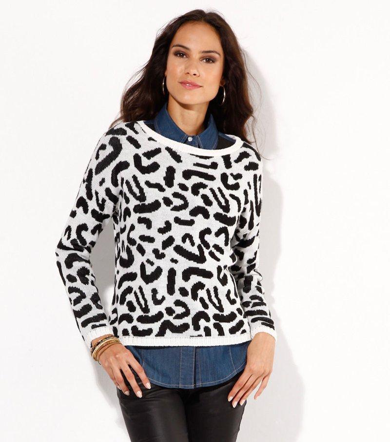 Jersey mujer manga larga tricot leopardo negro - Blanco