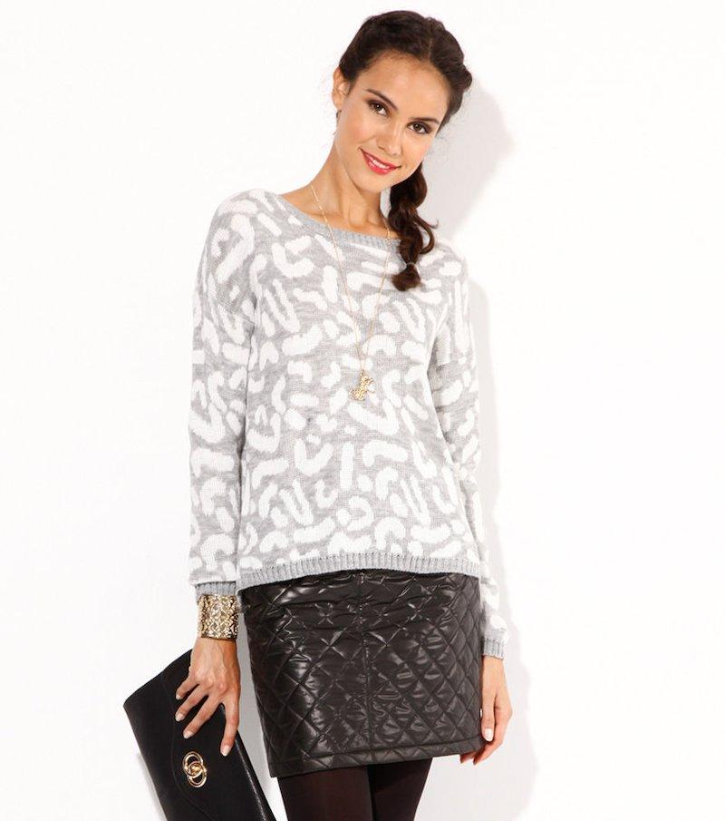 Jersey mujer manga larga tricot leopardo gris - Blanco