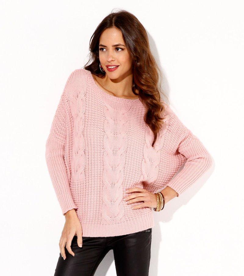 Jersey mujer manga larga grueso tricot con trenzas - Rosa