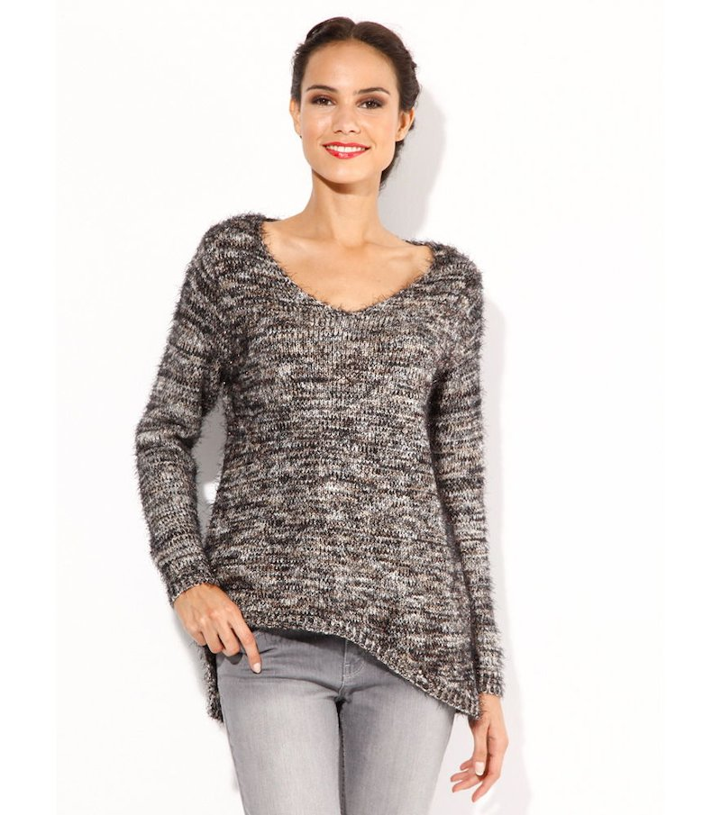 Jersey mujer manga larga jaspeado tricot hilos