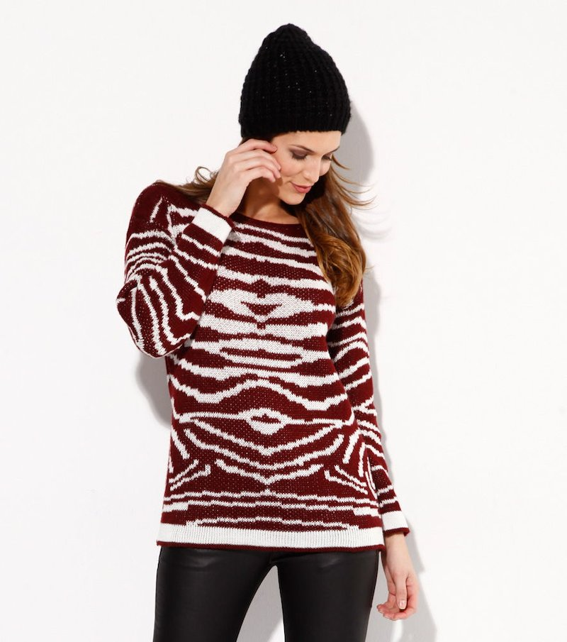 Jersey mujer manga larga tricot rayas - Rojo