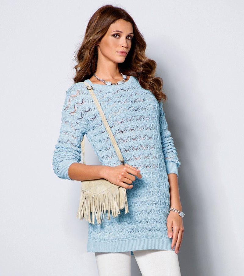 Jersey mujer manga larga punto tricot calado - Azul