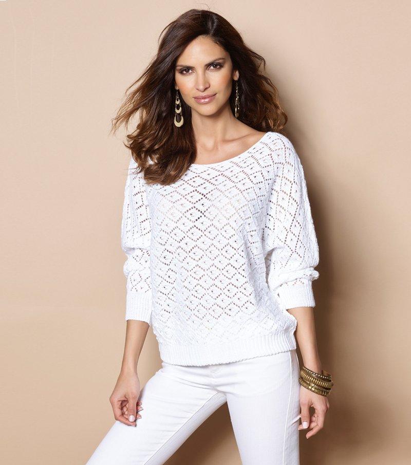 Jersey mujer tricot calado fantasía - Blanco