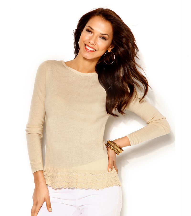 Jersey para mujer tricot con volante - Beige