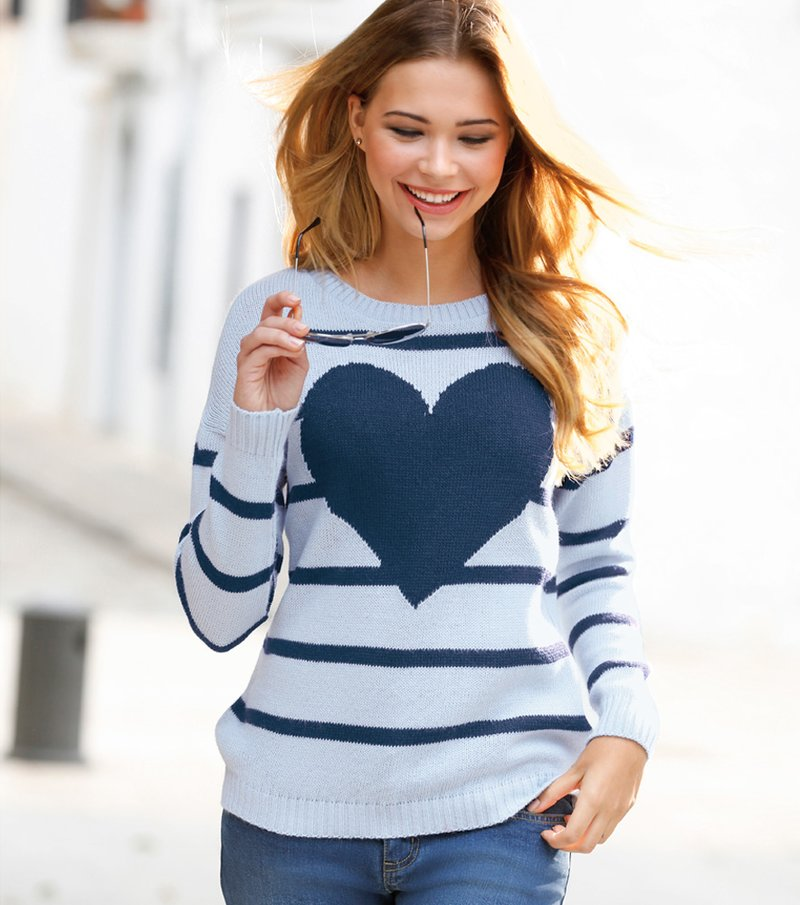 Jersey mujer manga larga tricot rayas corazón