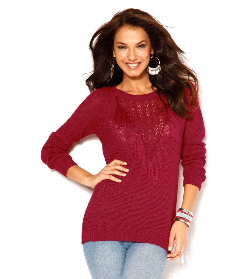 Jersey mujer manga larga tricot con flecos - Rojo