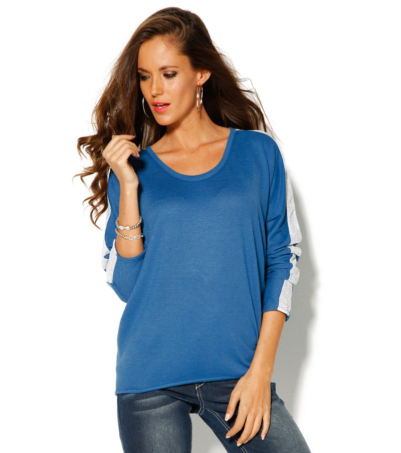Jersey mujer manga larga banda hilos metalizados - Azul