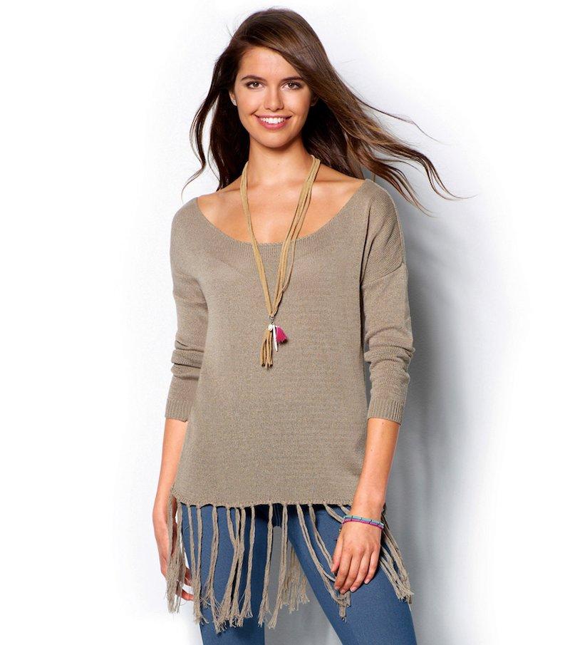Jersey mujer manga larga con flecos