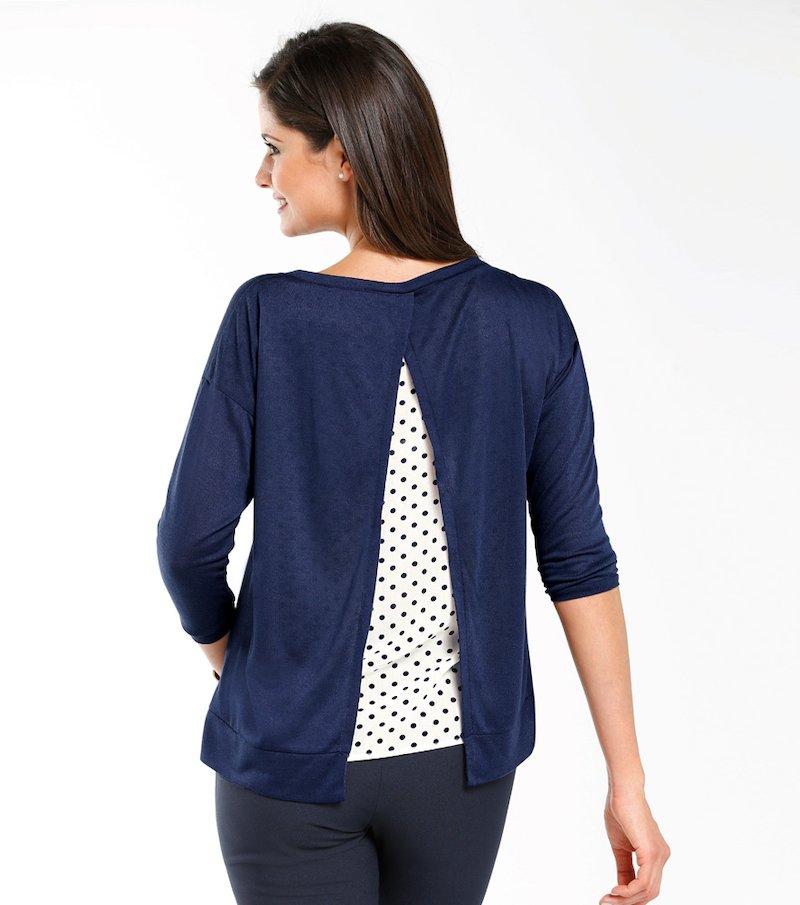 Jersey mujer manga 3/4 con espalda de fantasía - Azul