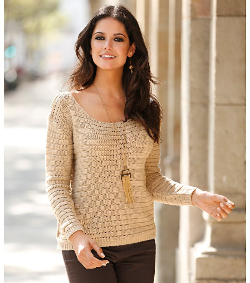 Jersey mujer manga larga fantasía tricot - Beige