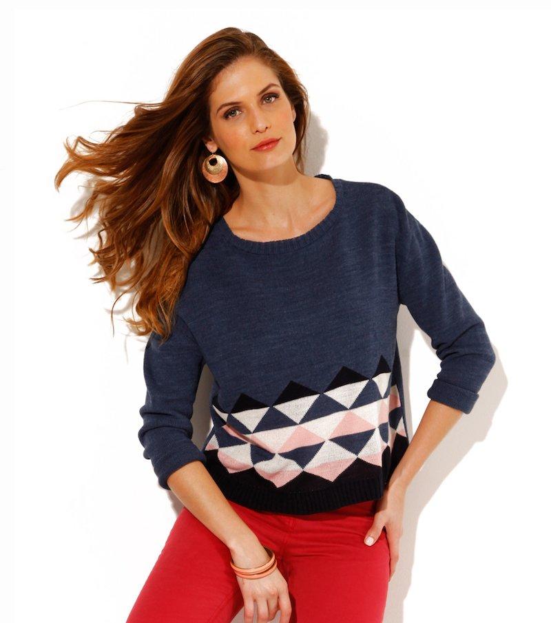 Jersey mujer manga larga estampado geométrico