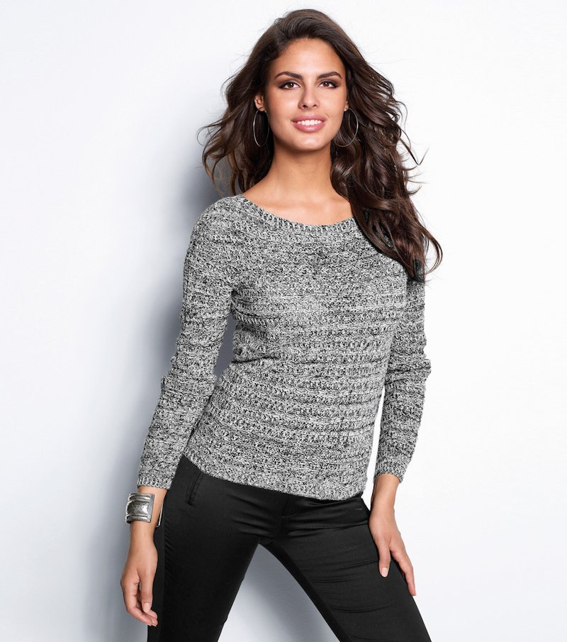 Jersey mujer tricot con canalé jaspeado - Negro