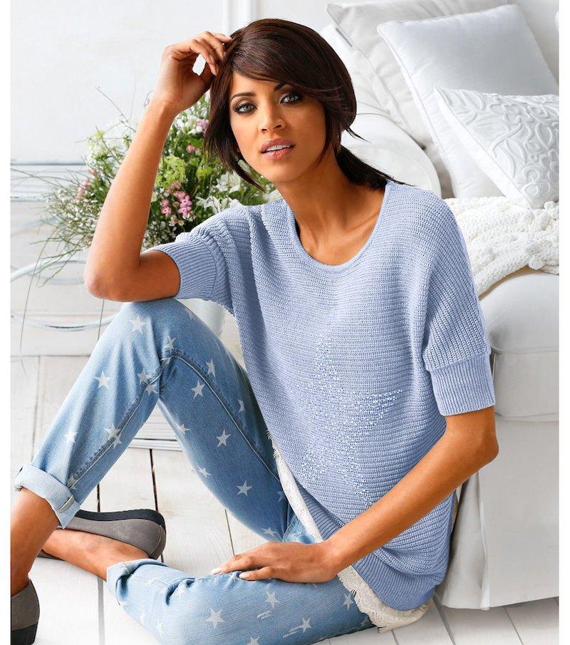 Jersey de punto mujer de manga corta HEINE - Azul