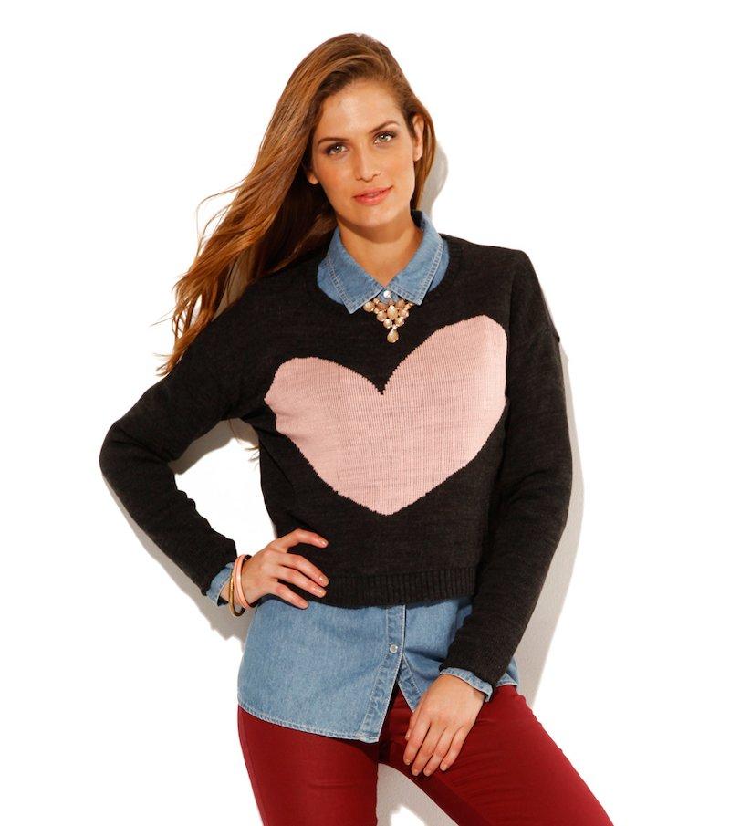 Jersey mujer manga larga corazón tricot