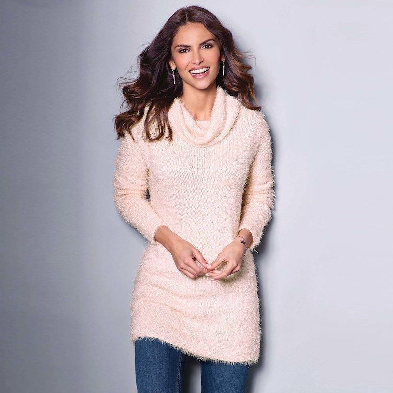 Jersey mujer manga larga tricot cuello chimenea