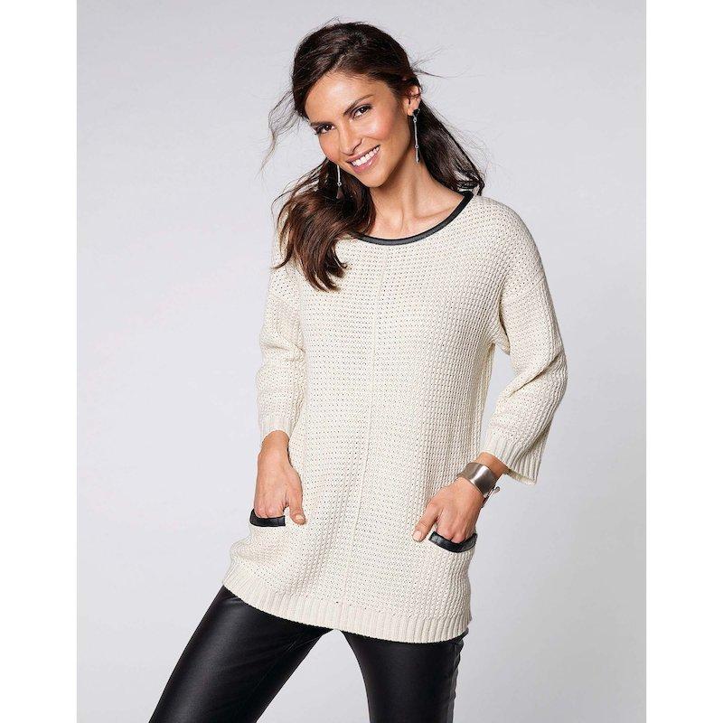 Jersey mujer manga 3/4 tricot con símil piel