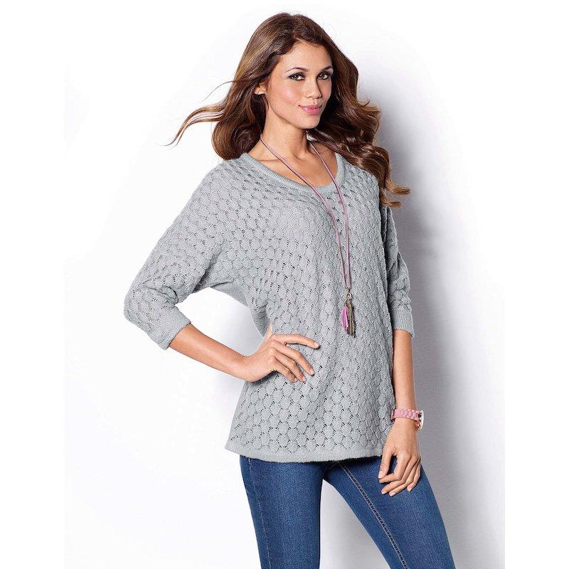 Jersey mujer manga 3/4 tricot calado fantasía