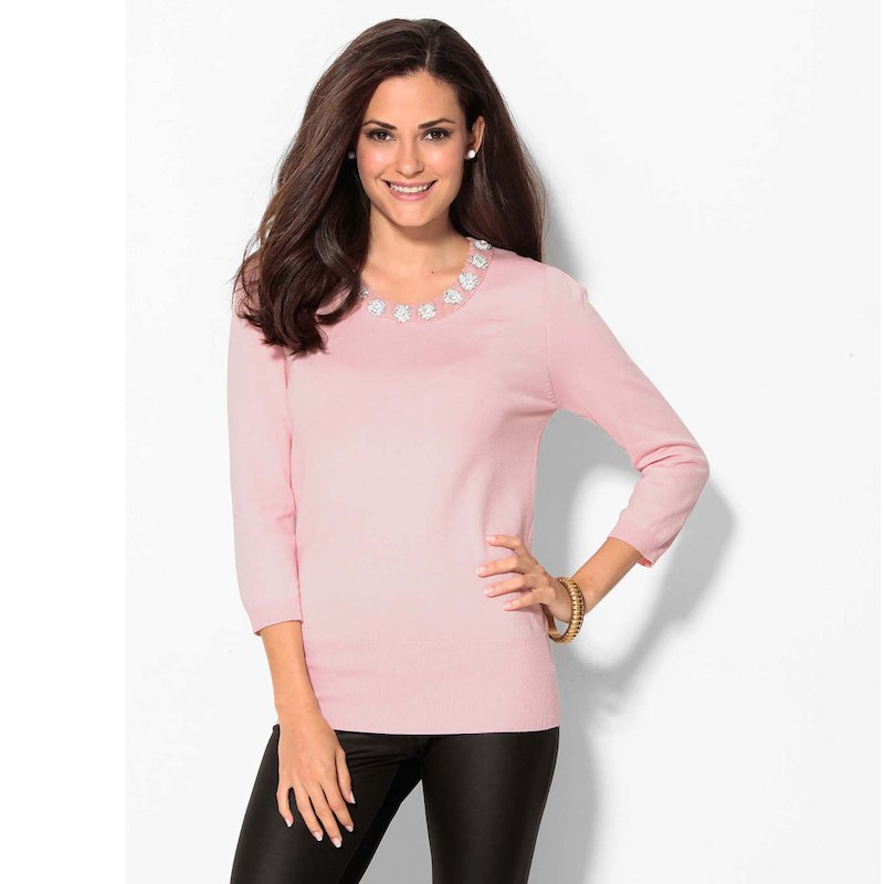 Jersey mujer manga 3/4 con abalorios tricot - Rosa