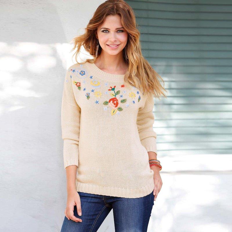 Jersey mujer manga larga con bordado tricot