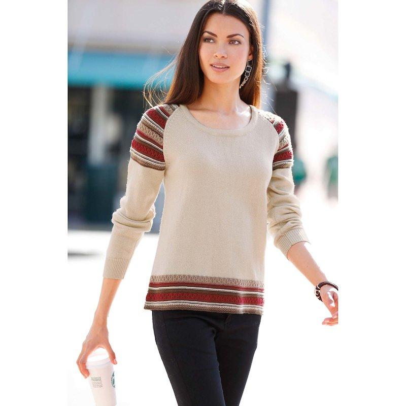 Jersey mujer manga larga con jacquard tricot