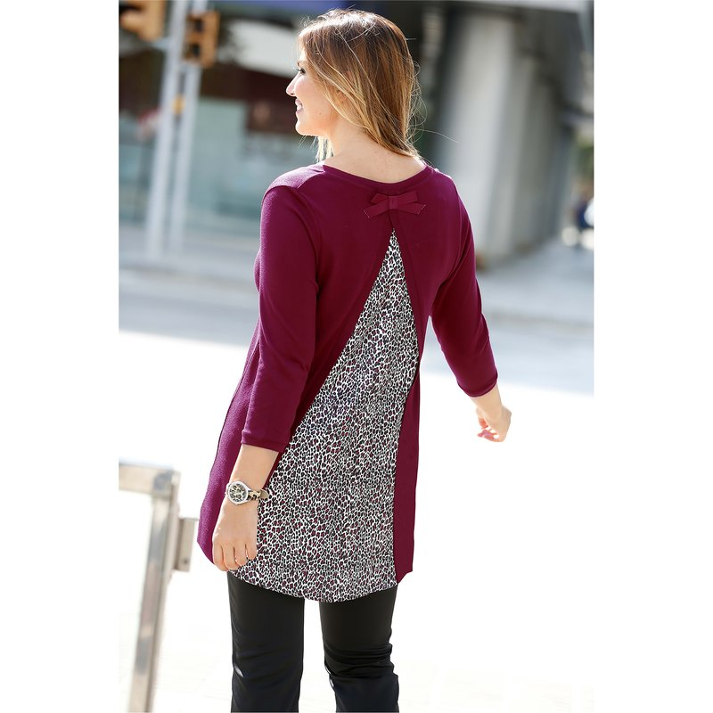 Jersey largo mujer manga 3/4 tricot con satén