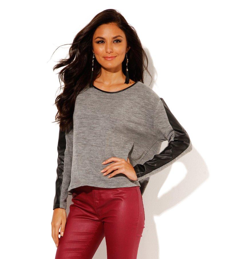 Jersey mujer manga larga tricot con símil piel