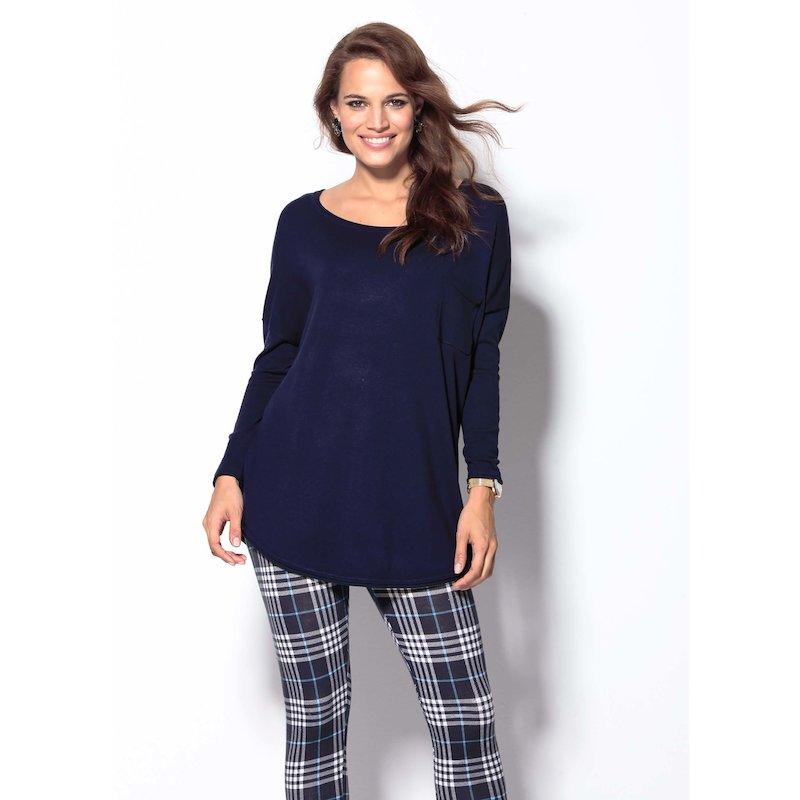 Jersey mujer manga larga con acabado rolé tricot