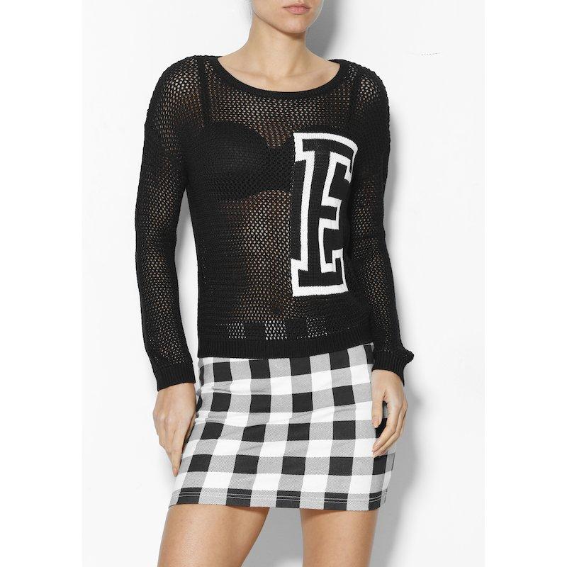 Jersey mujer manga larga tricot con letra - Negro