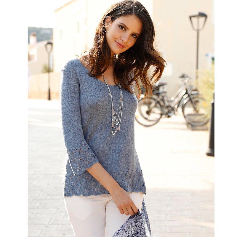 Jersey mujer manga 3/4 tricot acabado brillante