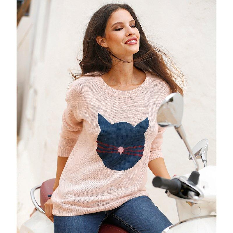 Jersey mujer manga larga tricot con silueta gato
