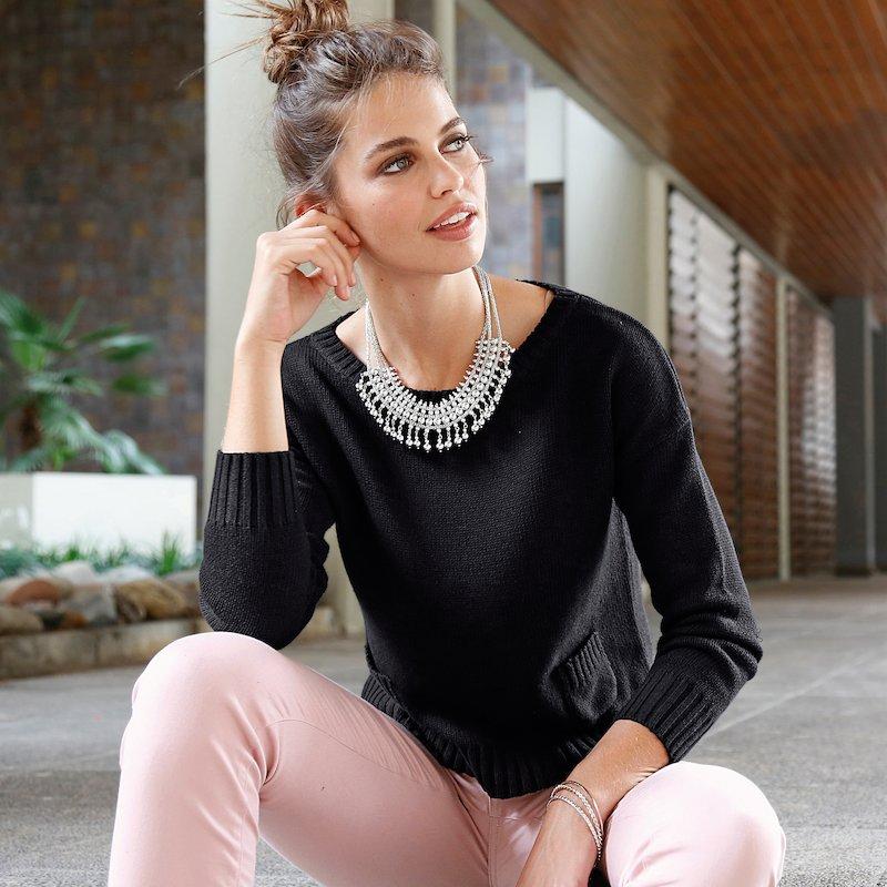 Jersey mujer de algodón con pequeños bolsillos - Negro
