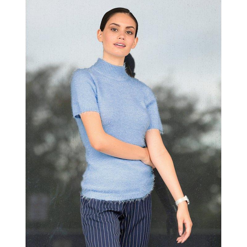 Jersey mujer cuello alto con manga corta tricot