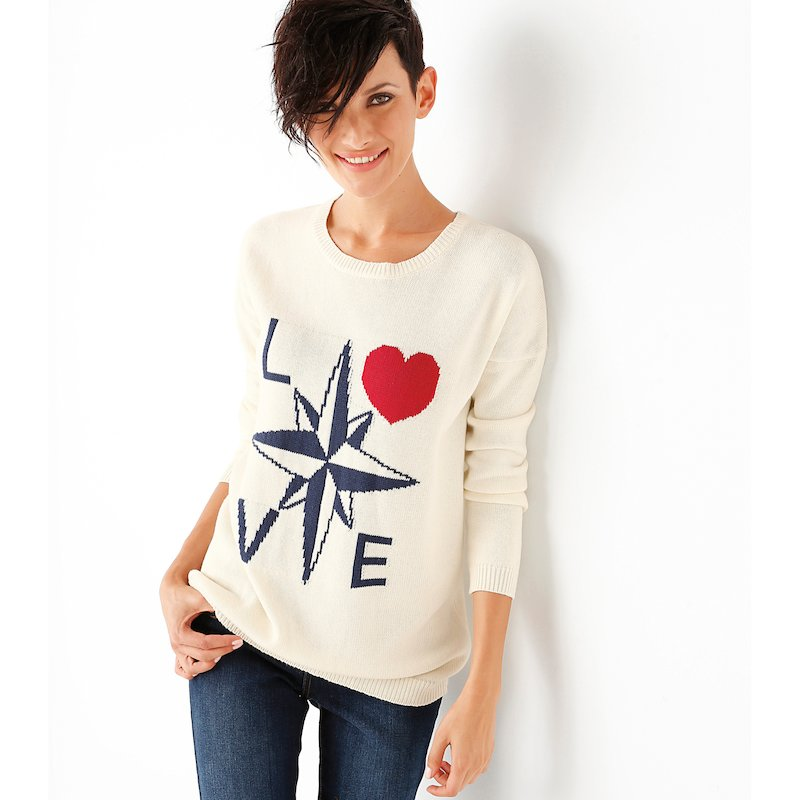 Jersey mujer manga larga de marinero en algodón