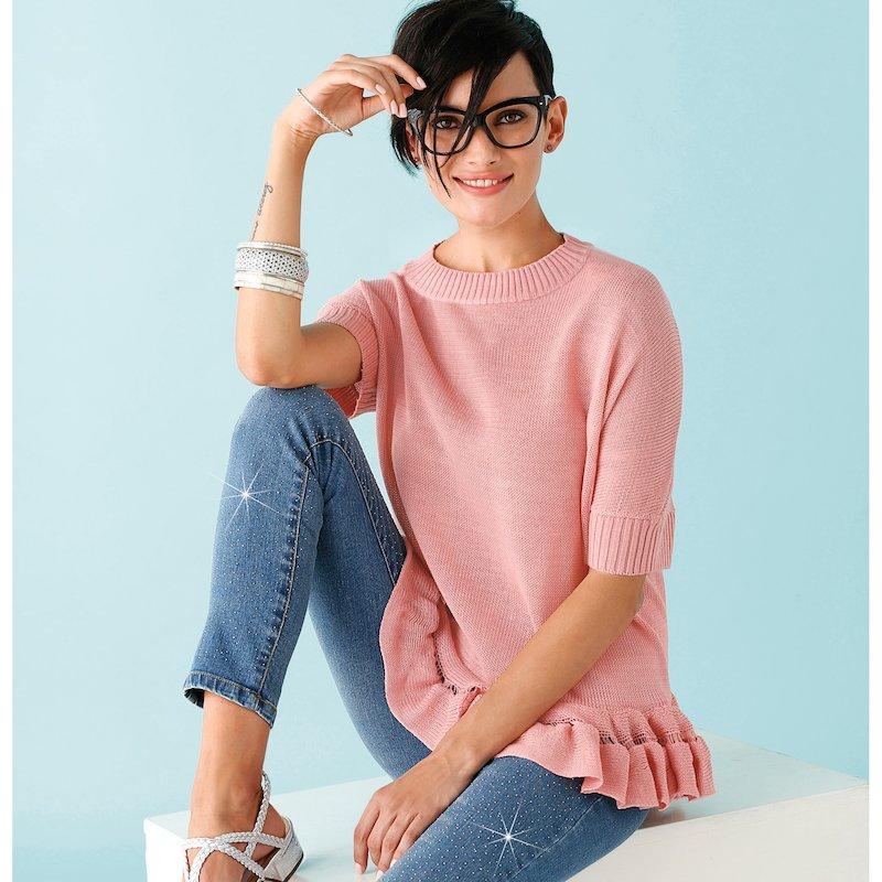 Jersey de mujer con volante en suave punto tricot - Rosa