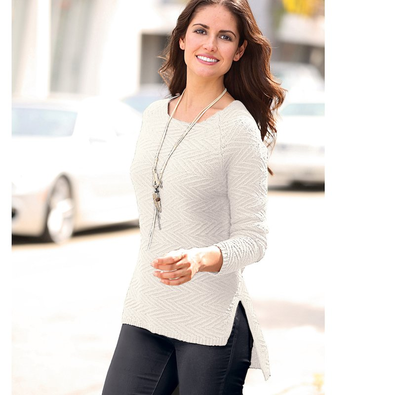 Jersey asimétrico tricot de fantasía con aberturas