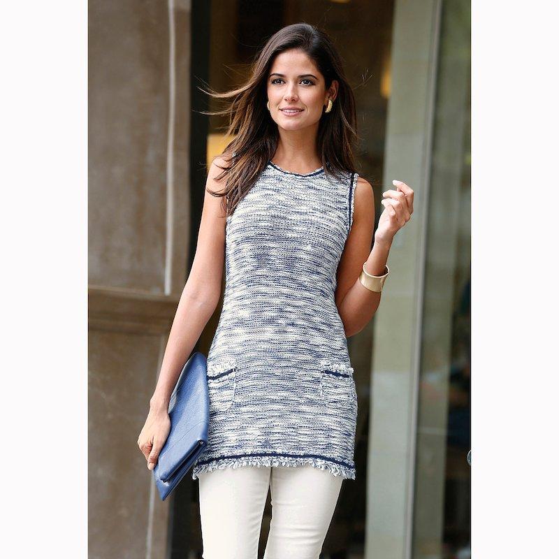 Jersey largo mujer sin mangas con detalle de flecos