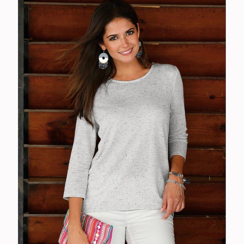 Jersey con guipur en la espalda suave tricot - Crudo