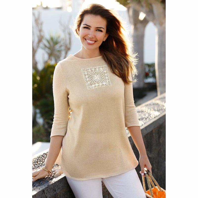 Jersey para señora de manga 3/4 con guipur tricot - Crudo