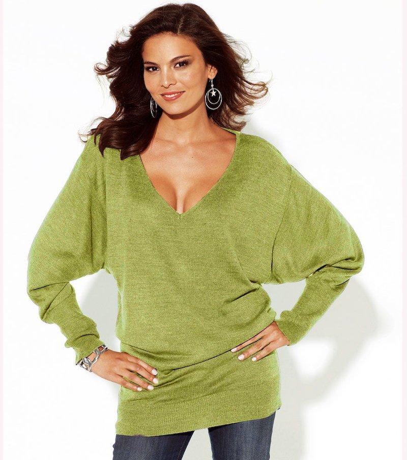 Jersey mujer manga larga murciélago punto tricot - Verde