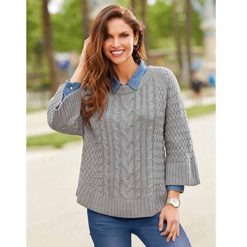 Jersey mujer manga 3/4 suave tricot trenzado y canalé
