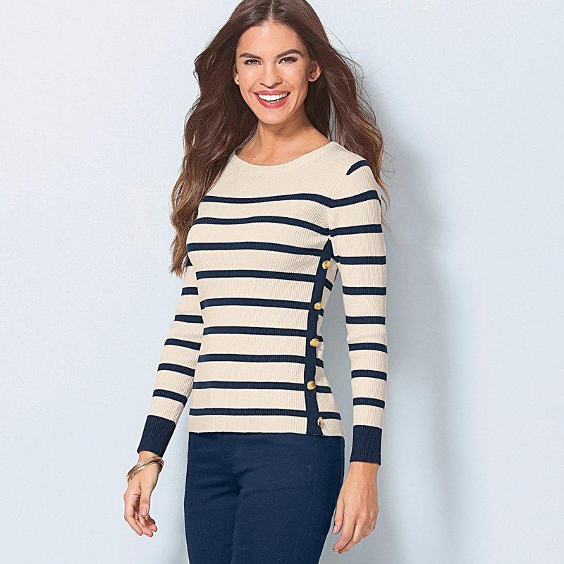 Jersey rayas mujer punto tricot con botones marineros